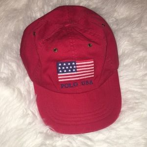 NWT Polo by Ralph Lauren Red American Flag Hat